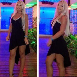 Sky rhinestone black dress - Small